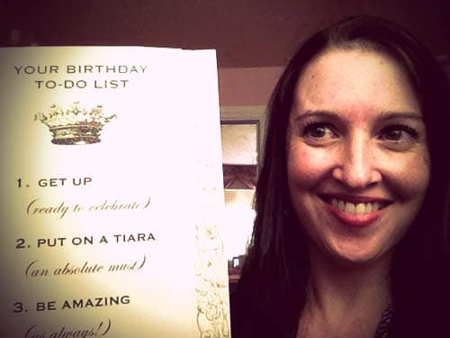 Jen's birthday to-do list: wear a tiara!