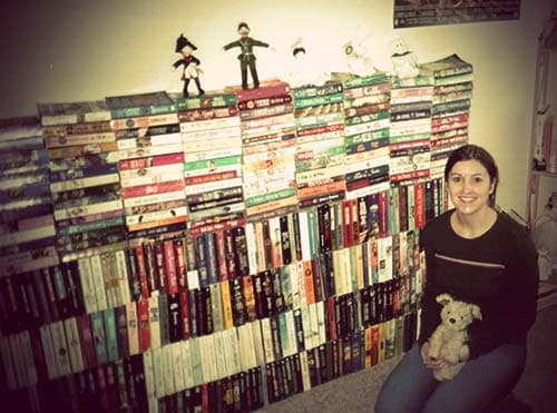 Jen's bookwall at her apartment in Daly City.