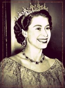 Queen Elizabeth II wearing the Girls of Great Britain and Ireland tiara.