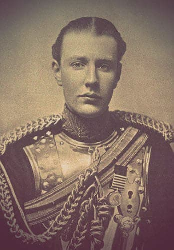 Hugh Grovesnor, the second Duke of Westminster. The image shows a young man in British military uniform from the early 20th century.