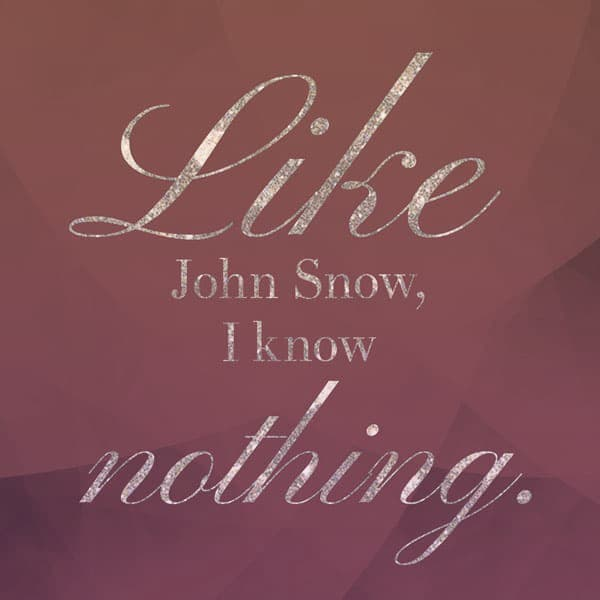 "Pull quote in gold glitter cursive: ""Like John Snow, I know nothing."""