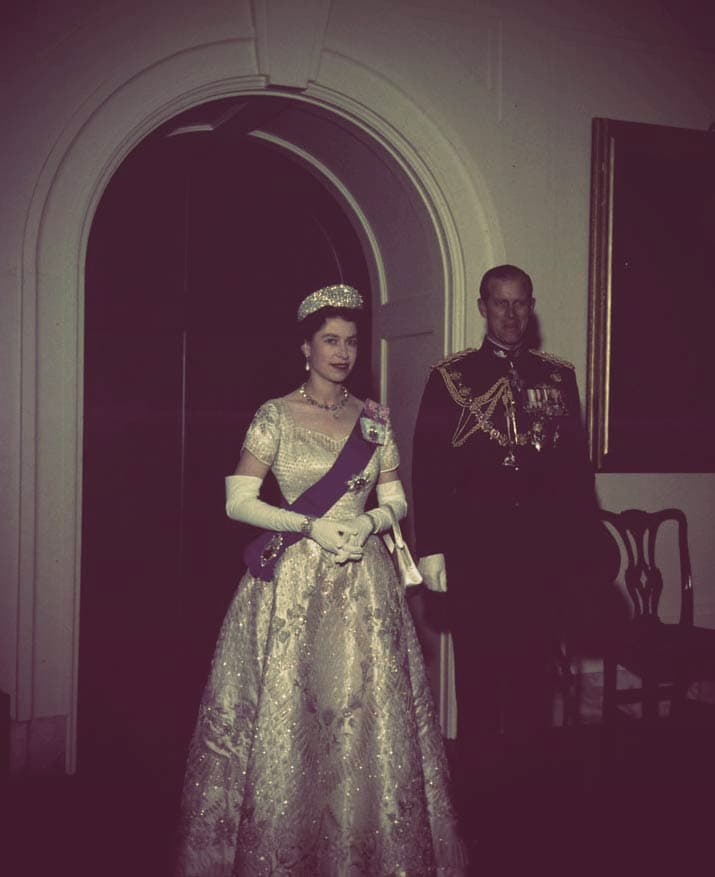 Queen Elizabeth II and Prince Philip of Edinburgh dressed for a formal reception. Elizabeth is wearing the diamond kokoshnik tiara; Philip is wearing a military uniform with decorations.