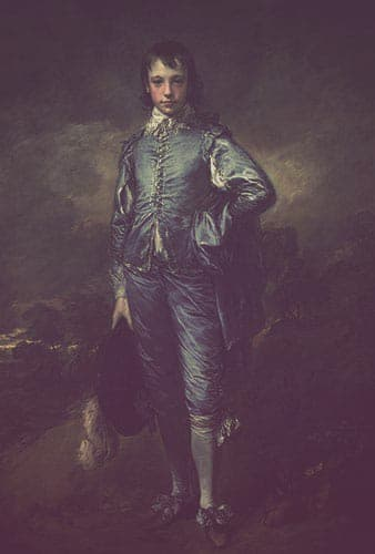 """The Blue Boy"" painted by Thomas Gainsborough. The painting features a young man in late 17th century dress, staring at the viewer with his left hand on his hip and his left leg turned out."
