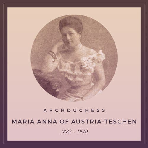 Archduchess Maria Anna of Austria-Teschen. She has dark hair up in a bun and is wearing a pale off-the-shoulder ball gown that's tightly corseted. | From Archduchess Maria Anna of Austria's Tiara on GirlInTheTiara.com.
