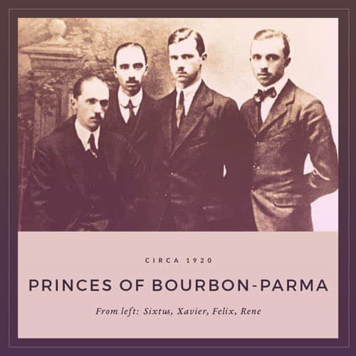 Four of the Bourbon-Parma brothers circa 1920: Sixtus, Xavier, Felix, and Rene. They are all looking straight at the camera, very serious faces, in dark three-piece suits. Only Rene wears a bow tie instead of a necktie.  | From Archduchess Maria Anna of Austria's Tiara on GirlInTheTiara.com.