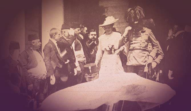 Archduke Franz Ferdinand and his wife, Sophie, about to enter the car in which they would be killed on June 28, 1914. | From Archduchess Maria Anna of Austria's Tiara on GirlInTheTiara.com.