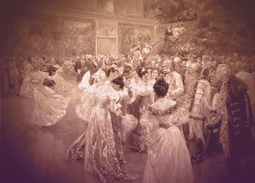 Wilhelm Gause's painting shows a crowded ballroom with men in uniform and women in low-cut ball gowns dancing and gathering around Emperor Franz Josef. The ballroom has a stand of palm trees in one corner of the lower level.  | From Archduchess Maria Anna of Austria's Tiara on GirlInTheTiara.com.