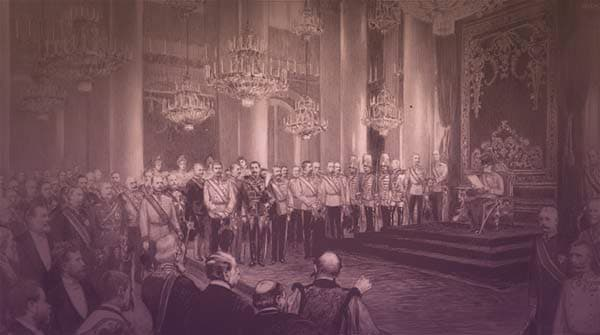 The painting shows Franz Josef as Austrian emperor, sitting on his throne, surrounded by rows of gentlemen in military uniforms and ladies in ball gowns.  | From Archduchess Maria Anna of Austria's Tiara on GirlInTheTiara.com.