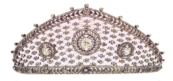 Crown Princess Cecilie of Prussia's diamond Faberge tiara, with latticework between the upper and lower frames | from Tiaras in the News 2019
