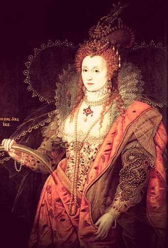 The Rainbow Portrait of Elizabeth I, showing the queen in a richly embroidered silver bodice, orange skirt, and high neck ruff.