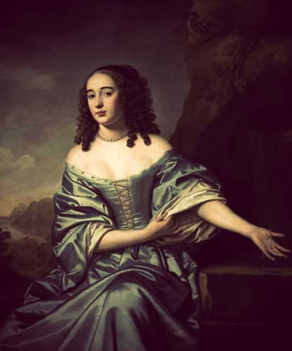 A painting of Princess Sophie, showing her with curled hair and a low-cut off-the-shoulder blue gown with pearl detailing on the bodice.