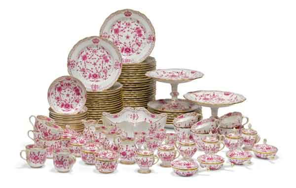 Meissen pink floral table service