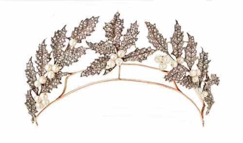 Lady Grantchester's pearl and diamond holly wreath tiara.