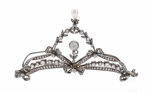 Diamond necklace/tiara combo, circa 1900