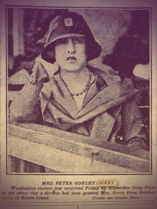 A newspaper clipping with a photo of Mathilde. She's wearing a trench coat and cloche hat and what looks like a black pearl necklace. | From The Yusupov Black Pearl Necklace on GirlInTheTiara.com.