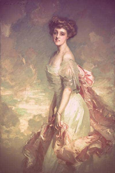 A portrait of Mathilde dressed in a silky off-white evening gown. She's holding a pink shawl (or maybe a ribbon?) that's attached to the back of her dress. The background of the painting is a beautiful blue sky with pink-flecked clouds, echoing the pink ribbon/shawl Mathilde is holding. | From The Yusupov Black Pearl Necklace on GirlInTheTiara.com.