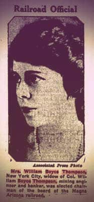 A newspaper clipping with a photo of Gertrude Boyce Thompson. She has short, dark, slightly wavy hair and dark eyebrows. She's wearing a single strand of pearls. | From The Yusupov Black Pearl Necklace on GirlInTheTiara.com.