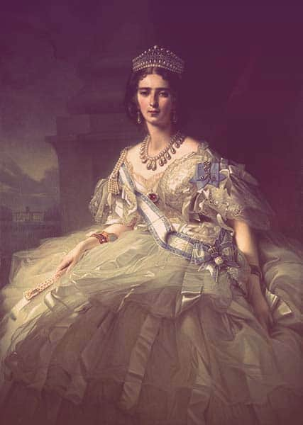 A portrait of Tatiana de Ribeaupierre wearing a tall tiara with a row of diamonds along the bottom, hanging pearls, diamond scrollwork, and small round pearls across the top. She's also wearing huge pearl drop earrings and an crazy-big pearl necklace with about two dozen drop pearls. Her cream-colored dress is frothy and elaborate, off the shoulder with lots of tulle, an order across her chest, and satin ribbons cascading down the skirt. | From The Yusupov Black Pearl Necklace on GirlInTheTiara.com.