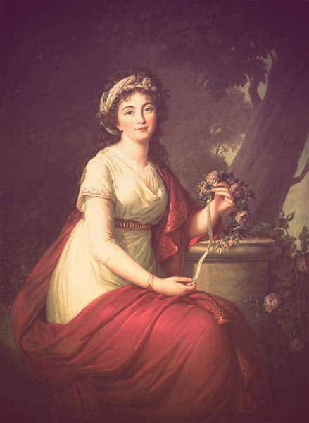 A portrait of Tatiana Yusupova. She's dressed in a cream Empire-waist dress with a red belt and red shawl over her left shoulder. She's wearing a thick white headband laced with greenery in her long, loose, dark hair. | From The Yusupov Black Pearl Necklace on GirlInTheTiara.com.