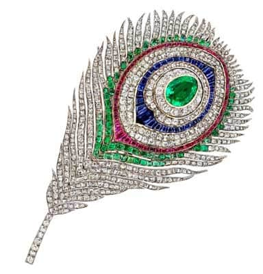 Mellerio peacock-feather brooch that belonged to Empress Eugenie
