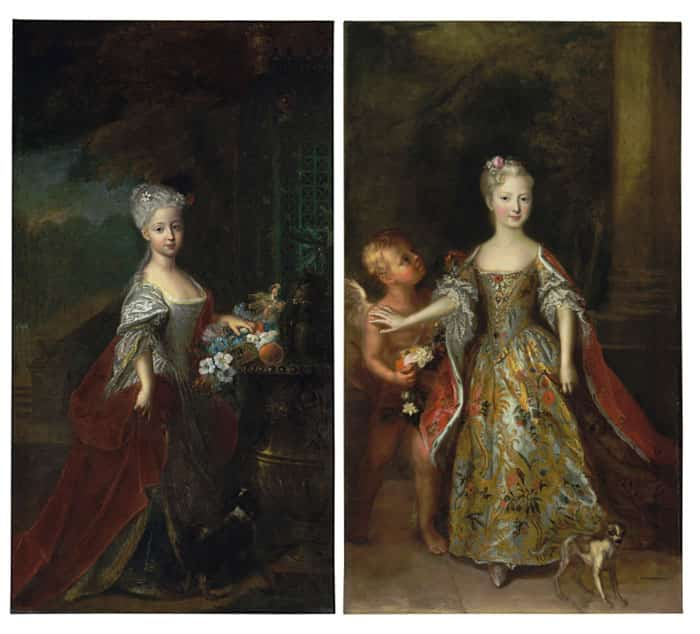 Antoine Pesne paintings of Archduchess Maria Theresa and Archduchess Maria Anna