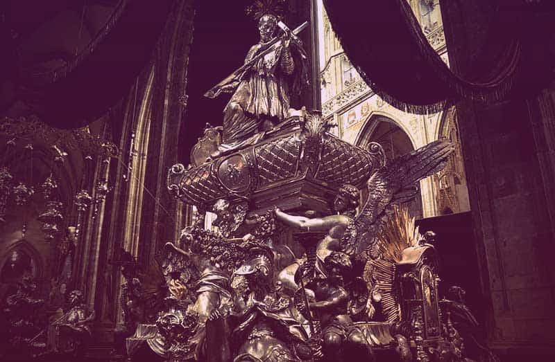 Close-up of the tomb of Jan Nepomuk in St. Vitus Cathedral, Prague