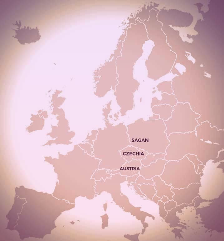 Map of Europe with Austria, Czechia, and Sagan marked | From Was Eleonora von Schwarzenberg a Real-Life Vampire Princess? on GirlInTheTiara.com.