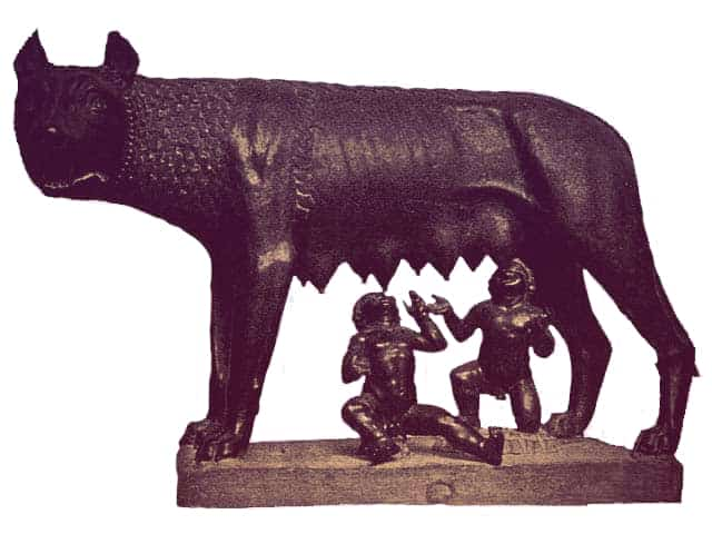 Sculpture of the she-wolf suckling Romulus and Remus