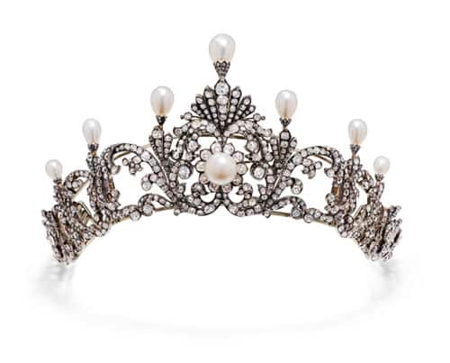 Pearl and diamond festoon tiara