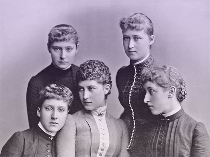 Group portrait of Alix and Ella of Hesse and by Rhine, Louise of Schleswig-Holstein, Charlotte of Prussia, and Helena Victoria of Schleswig-Holstein