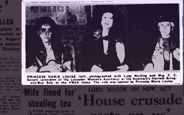 Princess Marie Louise sitting next to Lady Nutting at a Red Cross meeting.