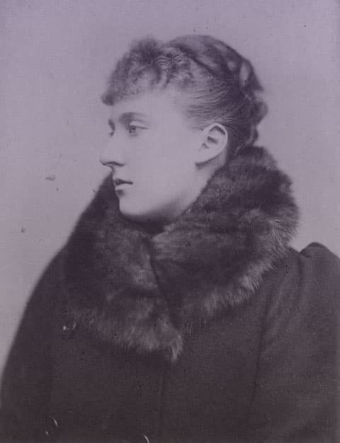 Louise of Schleswig-Holstein wearing a wool coat with a fur collar.