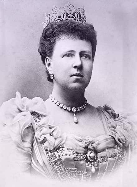 Dowager Duchess Marie of Saxe-Coburg and Gotha wearing a formal gown, diamond collier, and tall high diamond tiara.