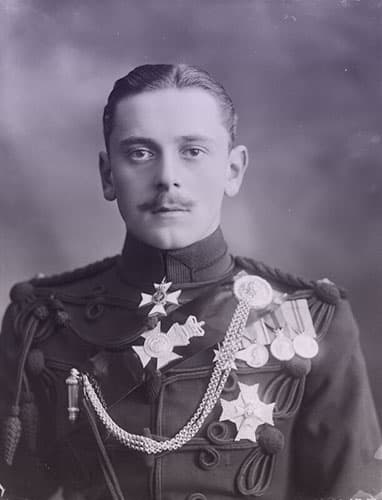 Prince Maurice of Battenberg wearing an elaborately braided military uniform with several medals.