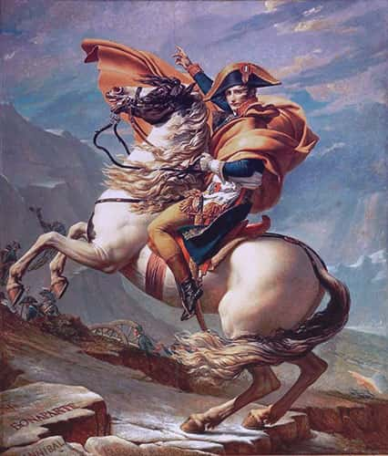 Napoleon seated on a white charger, his golden cloak flaring around him.