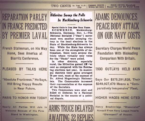 """A newspaper story headline reads: """"Hitlerites Sweep the Polls in Mecklenburg-Schwerin"""" via special cable to The New York Times."""