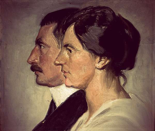 Painting in profile of Alexandrine and Christian X of Denmark. They are both dressed very simply, and the painting is modernist in its visible brush strokes and simplicity.