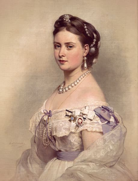 Princess Victoria wearing an off-the-shoulder lacy dress with purple ribbons and pearl jewels: drop earrings, necklace, brooch, and pearls wound through her braided hair.