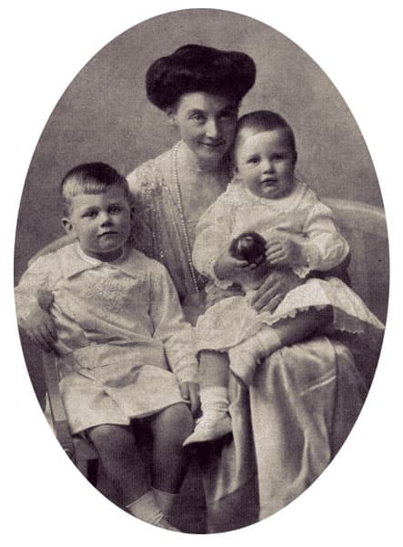 Alexandra of Mecklenburg-Schwerin holding her two sons, Friedrich Franz - about 2 years old - and Christian Ludwig - a few months old.