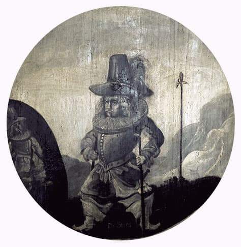 Painting of a very small man with long, flowing hair dressed in 17th century attire with a metal breastplate and boots with wide tops. He is the ghost seen by Alexandra of Mecklenburg-Schwerin.