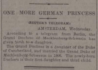 "Screenshot of the Western Daily Press's headline: ""One More German Princess"" born to Alexandra of Mecklenburg-Schwerin."
