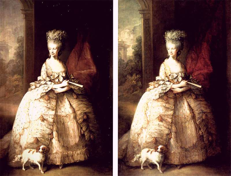A side-by-side comparison of two versions of Gainsborough's painting of Queen Charlotte. There are tiny differences in the height of her wig and the folds in the curtain behind her.