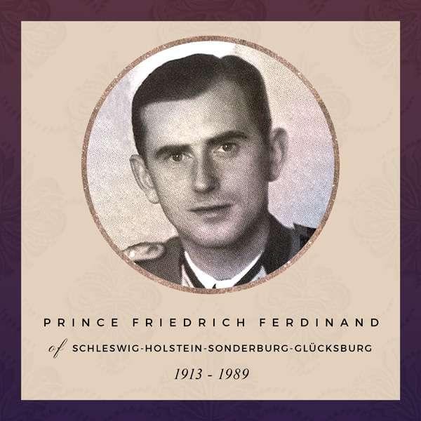 Portrait of Friedrich Ferdinand in military uniform. He has short, dark hair and small, close-set eyes.