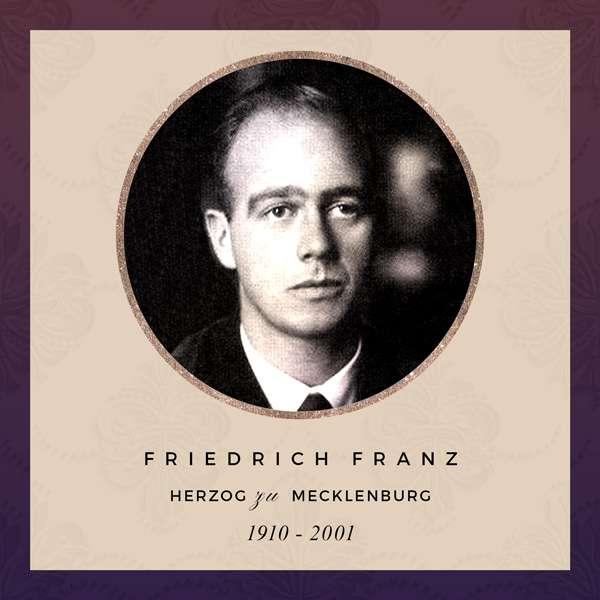 Friedrich Franz, Alix's eldest son, wearing a suit. He has thick eyebrows, a receding hairline, and dark blond-brown hair.