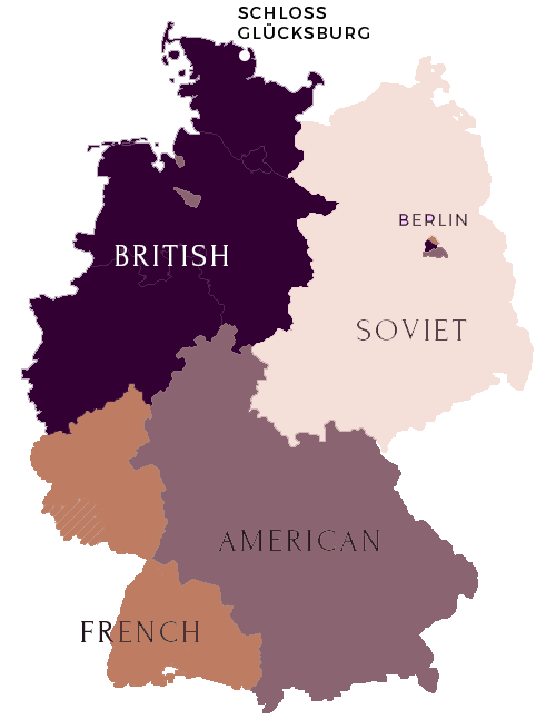 Map of Germany showing the occupying forces' sectors. Clockwise from top: British, Soviet, American, and French.