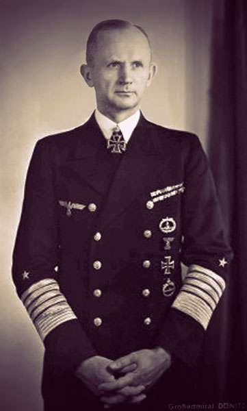 Portrait photo of Grand Admiral Karl Dönitz wearing his naval uniform and an iron cross medal.
