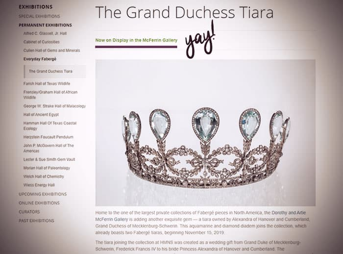 """Screenshot of the museum webpage with a photo of the tiara and the tag """"Now on Display in the McFerrin Gallery."""""""