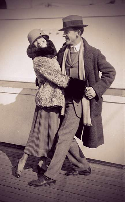 Fred and Adele Astaire dancing together on the deck of a ship.