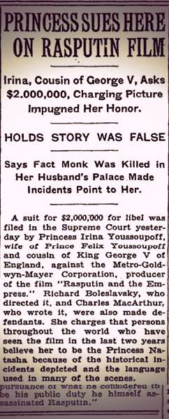"Screenshot of the New York Times article titled ""Princess Sues Here on Rasputin Film."""