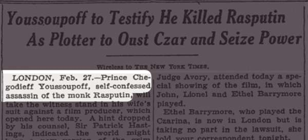 """Screenshot of the New York Times article titled """"Youssoupoff to Testify He Killed Rasputin As Plotter to Oust Czar and Seize Power."""""""